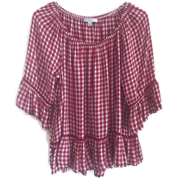 Fever Tops - Fever Red & White Gingham Peasant Blouse Large